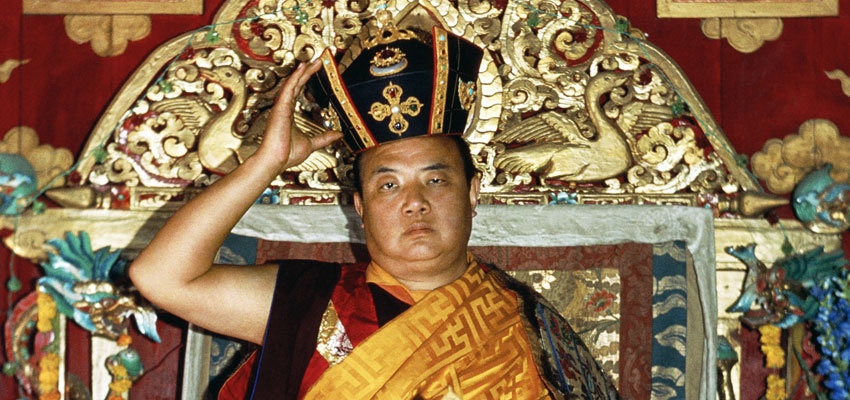 HH the 16th Karmapa performing the Black Crown ceremony