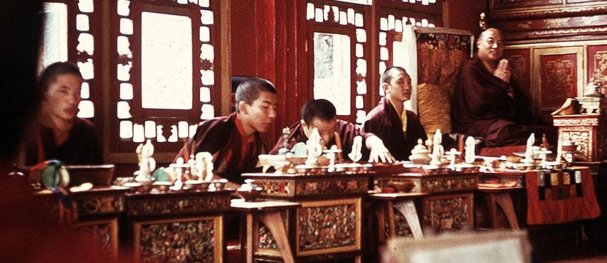 HH the 16th Karmapa with Shamar Rinpoche, Jamgon Kongtrul Rinpoche, Situ Rinpoche and Gyaltsab Rinpoche in Rumtek