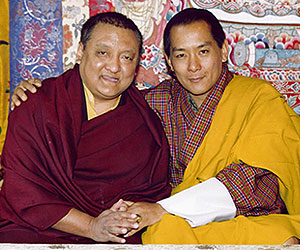 His Majesty the Fourth King of Bhutan Druk Gyalpo Jigme Singye Wangchuck together with Kunzig Shamar Rinpoche