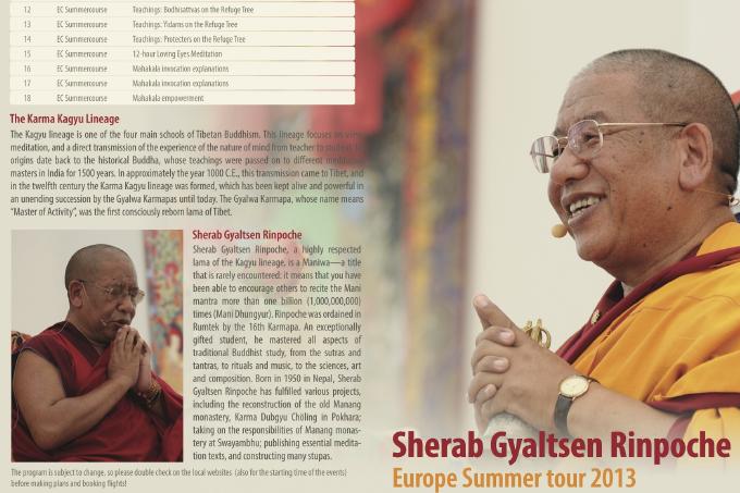 Sherab Gyaltsen Rinpoche 2013 tour of Europe
