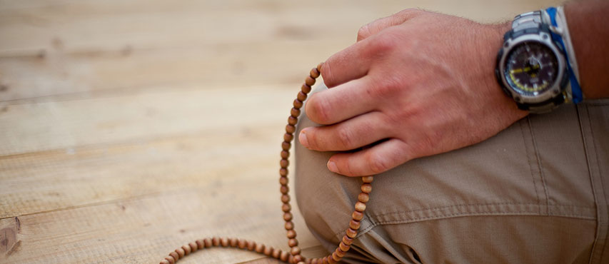 A mala, 108 beads used during Buddhist meditation.