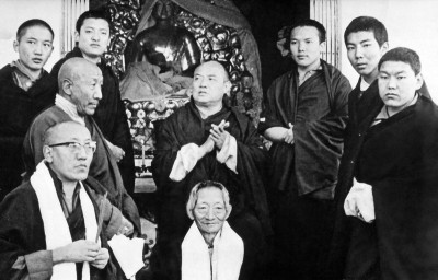 16th Karmapa with Shamar Rinpoche (top, second from left) and high Kagyu lamas