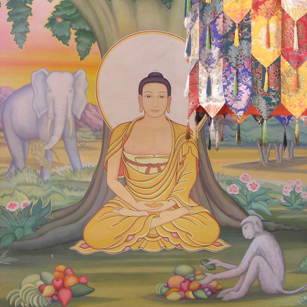 A painting showing the Bodhi tree under which Siddhartha Gautama, the spiritual teacher later known as Buddha, is said to have attained enlightenment