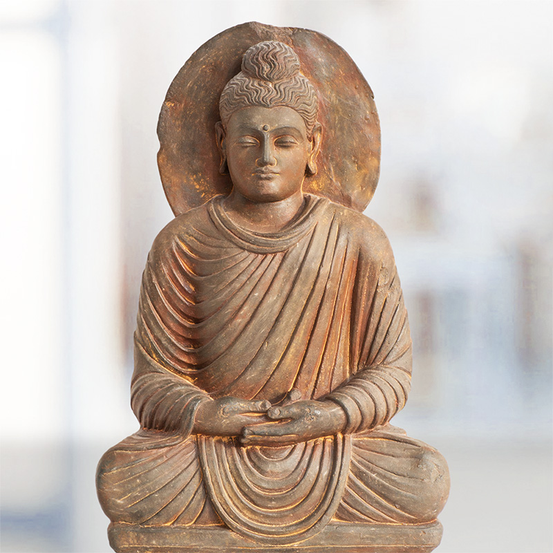 Greco-buddhist representation of Buddha Shakyamuni from the ancient region of Gandhara, eastern Afghanistan. Greek artists were most probably the authors of these early representations of the Buddha.
