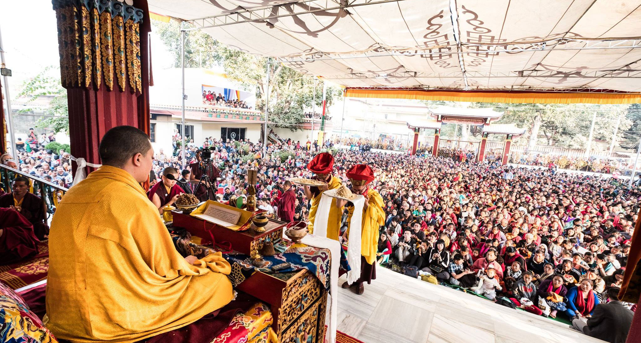 Karmapa guiding the Kagyu Monlam celebrations in Bodhgaya
