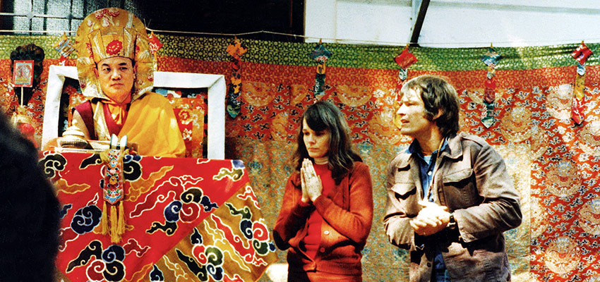 Rangjung Rigpe Dorje, HH the 16th Karmapa, with Hannah and Lama Ole Nydahl in 1977