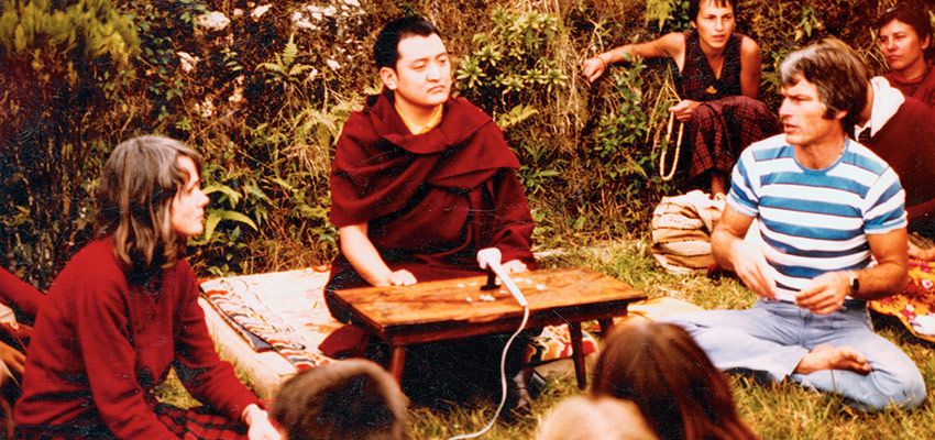 Shamir Rinpoche teaching in the early 70's, with Hannah Nydahl (left) and Lama Ole Nydahl.