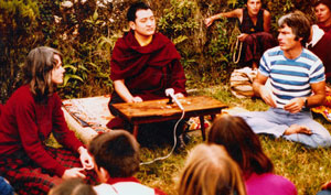 Lama Ole and Hannah Nydahl together with Shamarpa in Rumtek