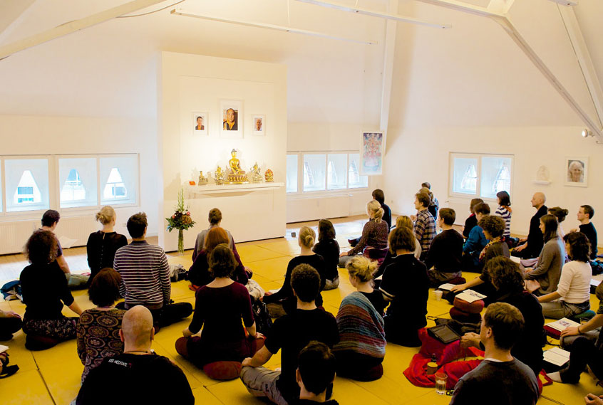 Group meditation in the Berlin Buddhist center