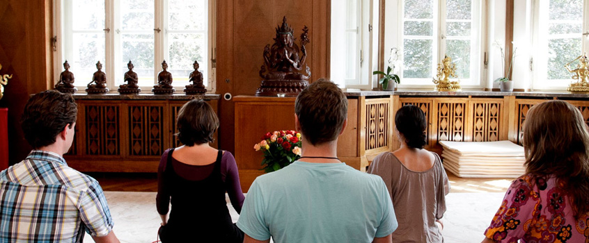 Group meditation at the Europe Center